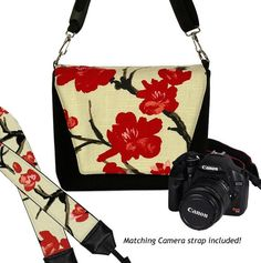 SET Dslr Camera Bag and Dslr Camera Strap, Camera Bag Slr and Camera Neck Strap, Asian Cherry Blossom Floral MTO