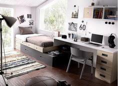 Dormitorio juvenil con cama compacta modular