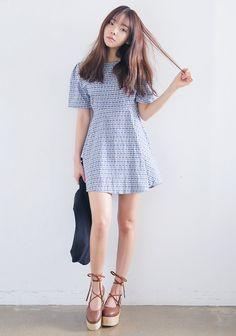 [STYLENANDA] CHECKERED A-LINE DRESS