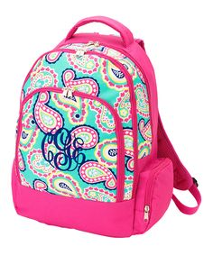 Look what I found on #zulily! Pink Paisley Monogram Backpack by Princess Linens #zulilyfinds