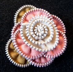 Vintage Zipper Flower Brooch