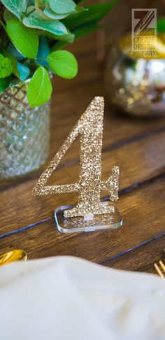 Wedding Reception Decor Ideas - Champagne Glitter Table Numbers with Clear Acrylic Base | Handmade Wedding Decor & Gifts at www.ZCreateDesign.com... or shop ZCreateDesign on Etsy