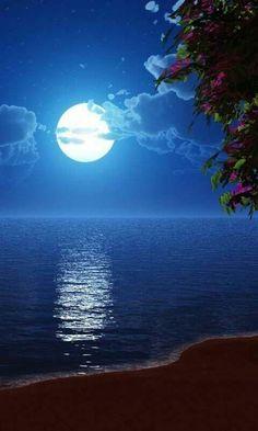 Blue moon - sky and ocean