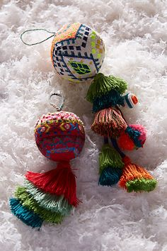 Inspiration: Embroidered Ferrara Ornament, from Anthropologie. Such embroidered. Many tassel. Christmas In Europe, Christmas Holidays, Christmas Crafts, Christmas Bulbs, Christmas Decorations, Holiday Decor, Christmas Makes, All Things Christmas, Broderie Simple