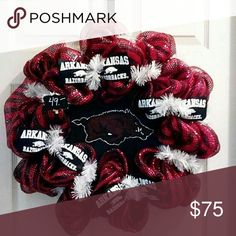 Razorback Wreath Deco mesh wreath with hand painted Razorback on black burlap in center of wreath.  Razorback ribbon on a white wreath form. Sport Wreaths and More  Other