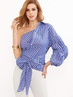Blue Striped One Shoulder Wrap Around Button Down Top