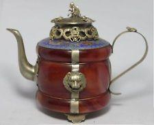 Beautiful Chinese Tibet Silver Red jade Teapot