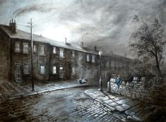 Bob Barker is a UK based artist, born and bred in Yorkshire. It's taken Bob Barker twenty years for his long time love of painting to evolve from a hobby to the point where interest in his work has taken on worldwide awareness. Oil Paint Set, Brickwork, Nostalgia, Scenery, Bob, Black And White, Artwork, Painting, Image