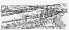 Jones & Laughlin formed their steel enterprise in 1861 along the banks of the Monongahela River in Pittsburgh. The company first produced iron followed by the production of steel in 1886. Giclee prints are available through my Steel City Artist fine art website.