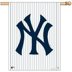 The New York Yankees MLB Baseball Pinstripe Logo Flag or Banner #1 by WinCraft. $21.99. Fade resistant nylon fabric, will not crack or split. Great for indoor or outdoor use.. Measures 27x37 inches.. Show your pride with this awesome flag, great for indoor or outdoor use. Features: Fade Resistant nylon fabric, Will not crack or split. Pole not included.