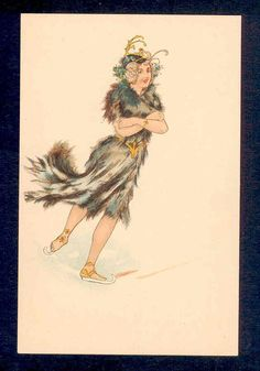 "RARE ""Winter"" Art Nouveau Glamour Lady Ice Skating Walter Crane Old Postcard 