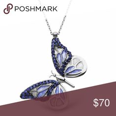 925 Sterling Silver Blue Butterfly Necklace 925 Sterling Silver with Zircon Stone. Weight is 0.12 oz. Chain length is 17.7 inches. Made in Turkey. Rosary Jewelry Necklaces
