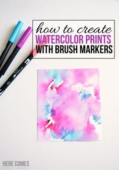 to Create Watercolor Prints with Brush Markers Create gorgeous watercolor prints with brush markers!Create gorgeous watercolor prints with brush markers! Tombow Brush Pen, Tombow Markers, Brush Pen Art, Watercolor Brush Pen, Brush Markers, Watercolor Lettering, Watercolor Cards, Watercolor Print, Brush Lettering