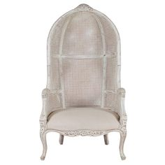 French Style Cane Wingback Canopy Porters Chair