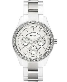 Montre pour femme : , Fossil Women's Stella Plastic Bracelet White Dial Watch… Fossil Watches, Cool Watches, Watches For Men, Women's Watches, Ladies Watches, White Watches, Jewelry Accessories, Fashion Accessories, Mode Outfits
