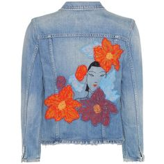 Citizens of Humanity Dakota Embroidered Denim Jacket (1 055 BGN) ❤ liked on Polyvore featuring outerwear, jackets, blue, blue jackets, embroidered jean jacket, denim jacket, jean jacket and blue jean jacket