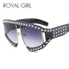 b8124fdcc366d ROYAL GIRL Oversized Women Sunglasses Rivet Pearl Sexy Cat Eye Sun Glasses  Vintage UV400 SS258 Sunglasses