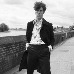MR Tom Hughes for MR PORTER wearing Prada Double-Breasted Wool Coat, Printed…