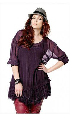 Que Greta Sheer Waterfall Beaded Hem Top in Purple