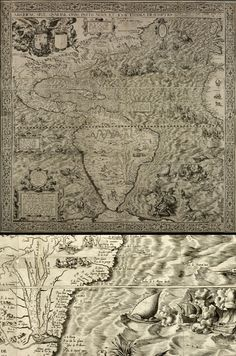 Magnificent Maps: Cartography as Power, Propaganda, and Art | Brain Pickings The Americas by Diego Gutiérrez, 1562  This is a powerful celebration of Spain's New World Empire, beginning in the late 15th century. In the upper left-hand corner is the arms of King Philip II (reigned 1554-1598). In the sea, Philip appears on a chariot, riding through a turbulent Atlantic. The map aimed to strengthen Spain's political image in Europe and its claim to the Americas.
