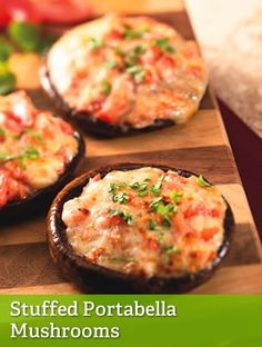 Stuffed Portabella Mushrooms...I love swapping out some of the cheese for crab meat! PLUS they convert to mini stuffed mushrooms...great for entertaining!