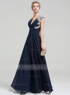 [US$ 119.99] A-Line/Princess V-neck Floor-Length Chiffon Evening Dress With Appliques Lace (017093494)