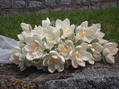 Bridal paper flower,wedding paper flower,paper flower ,flower paper decor,magnolias paper flower ,bridal flower,wedding flower,flower 25pcs.
