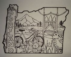 "St. John's Bird-Portland Oregon Outline Drawing. 5"" x 7"", pen on paper. By Allison J. Bratt. www.AllisonJBratt.com, www.facebook.com/AllisonJBrattArt, Twitter: @AllisonBrattArt"