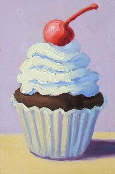 Cherry on Top by Pat Doherty Cupcake Painting, Cupcake Drawing, Cupcake Art, Food Painting, Painting & Drawing, Mini Canvas Art, Guache, Mini Paintings, Food Illustrations