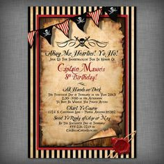 Pirate Party Customized Printable Invitation by CheBellaCarta, $13.95