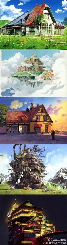宫崎骏作品中最令人向往的地方:1.龙猫的家《龙猫》、2.天空之城《天空之城》、3.欧思娜太太的面包房《魔女宅急便》、4.移动城堡《哈尔的移动城堡》、5.油屋《千与千寻》