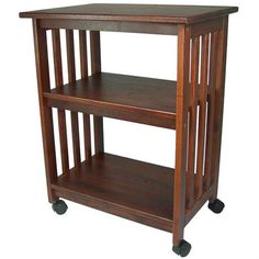 Mission Style Kitchen Microwave Cart in Chestnut - Made in USA - Quality House