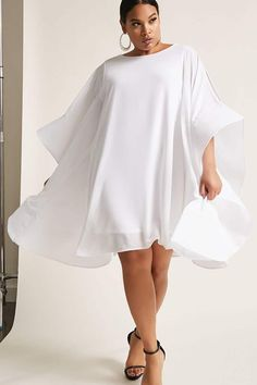 Product Name:Plus Size Angel-Sleeve Dress, Category:CLEARANCE_ZERO, Price:58