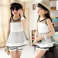Girls clothing sets Summer 2016 Ropa mujer sets Children clothing Kids fashion suits sleeveless t shirts+shorts set Kids Outfits Girls, Baby Outfits, Girls Dresses, Kids Girls, Baby Girls, Wholesale Baby Clothes, Cheap Kids Clothes, Look Girl, White Lace Blouse