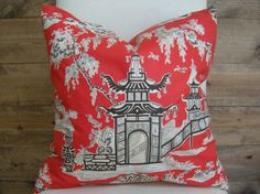 Hey, I found this really awesome Etsy listing at https://www.etsy.com/listing/267370117/chinoiserie-red-pagoda-pillow-cover-20