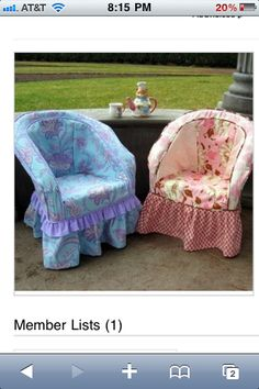 Shabby chic Slipcovers for those plastic resin chairs. Or maybe it's wicker.I wish i could take credit for sewing this! I love it.
