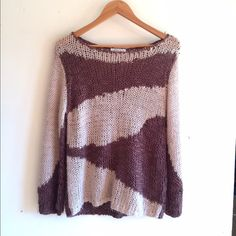 Boho Loose Knit Pullover Tan and brown colors Ina loose knit oversized pullover. Scoop neck, long sleeves. 96% acrylic, 4% wool. No trades. Generous discount with bundle. Hinge Sweaters Crew & Scoop Necks