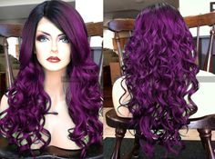 """U.S.A. // 20"""" Curly Purple HEAT Ok Lace Front Wig w/ Skin Part & Ombre Black Dark Roots by WantableWigs on Etsy https://www.etsy.com/listing/287675853/usa-20-curly-purple-heat-ok-lace-front"""