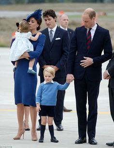 Duchess Kate with her husband Duke William of Cambridge with their children Princess Charlotte and Prince George with the Prime Minister Justin Trudeau of Canada. First trip to Canada with the children.