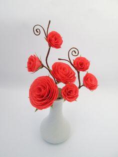 Wedding Centerpiece, Floral Arrangement, Home Decor, Coral Roses, Table Paper Floral Centerpieces