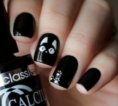 Unique Cat Nails Designs For You 20 Simple Black Nail Art Design Ideas The post Unique Cat Nails Designs For You appeared first on Halloween Nails. Cat Nail Designs, White Nail Designs, Nails Design, Nail Art Halloween, Halloween Nail Designs, Halloween Office, Halloween Makeup, Halloween Decorations, Women Halloween