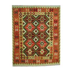 Herat Oriental Afghan Hand-woven Vegetable Dye Tribal Wool Kilim (5'3 x 6'8) (Afghan Tribal Wool Area Rug), Green, Size 5' x 7' (Natural Fiber, Geometric)