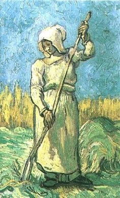 Peasant Woman with a Rake after Millet, 1889 by Vincent van Gogh. Post-Impressionism. genre painting. Private Collection
