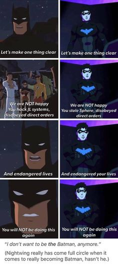 """Difference is Nightwing says """"your lives"""" instead of just """"lives"""". Batman And Superman, Batman Robin, Batman Arkham, Batman Art, Young Justice League, Nightwing Young Justice, Young Justice Comic, Batman Universe, Dc Universe"""