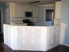 Installing a Half-Wall Kitchen Island Kitchen Peninsula, Kitchen Island, Half Wall Decor, Half Wall Kitchen, Open Concept Home, Half Walls, Basement Makeover, Home Remodeling, Kitchen Remodel