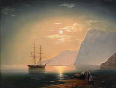 Ivan Aivazovsky -  Boat In Moonlight 1868