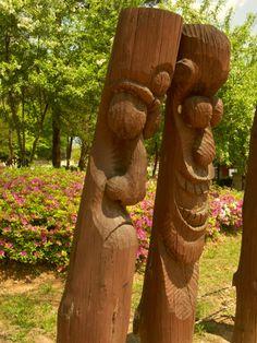 장승  jangseung, Korean traditional totem pole at the village entrance  In Jungsun May 2012      / not edited - photography by Yangyeon