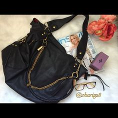 "Black Leather Hobo Bag⚜ Beautiful black hobo bag with red interior, gold chain embellished. 19"" Length, 13"" deep. This is truly a beautiful bag!! Gently used. In excellent condition with one tiny ink spot( the size of the end of an ink pen) inside.  Miss Gusto Bags Hobos"