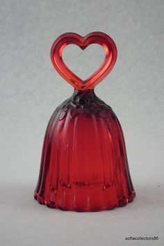 Fenton 9764 RU Ruby Heart Handled Bell.  via Etsy.
