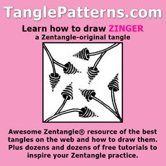 Step-by-step instructions to learn how to draw the Zentangle-original tangle pattern: Zinger